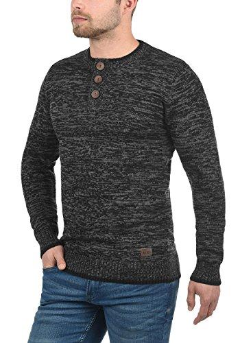 REDEFINED REBEL Mateo Herren Strickpullover Pullover Feinstrick mit Grandad-Ausschnitt aus 100% Baumwolle Meliert Black