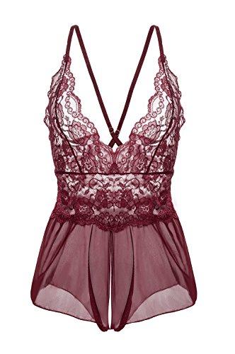 Yidarton Damen Nachtkleid Sexy Babydoll Dessous Set Erotik Lingerie V-Ausschnitt Kleid Spitzen Unterwäsche (XL, Rot) ...