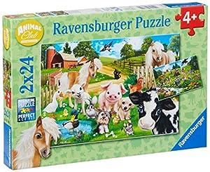 Ravensburger - Puzzle 2 x 24, Animal Club (07830)