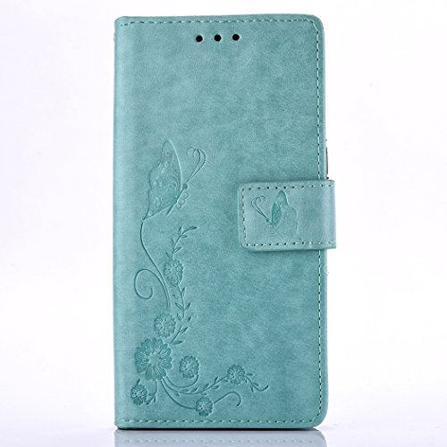 Alcatel One Touch Pixi 3 4.0 Hülle, Alcatel One Touch Pixi 3 4.0 Case, Alcatel One Touch Pixi 3 4.0 Schutzhülle,Cozy Hut Lederhülle Leder Tasche Case Cover für Alcatel One Touch Pixi 3 4.0 Hülle PU Schutz Etui Schale Light Blue Muster Schmetterlings-blume Design Backcover Flip Cover Wallet Hardcase im Bookstyle mit Standfunktion Karteneinschub und Magnetverschluß Etui Flip Case Cover Für Alcatel One Touch Pixi 3 4.0 Zoll - Himmel blau Schmetterling Blume