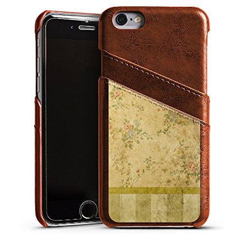 Apple iPhone 4 Housse Étui Silicone Coque Protection Rétro Mur Bandes Étui en cuir marron