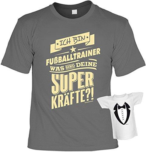 Fun Shirt mit lustigem Motiv: Ich bin Fußballtrainer, was sind deine Superkräfte?! - Mit gratis Mini Shirt - Geschenk - Geburtstag - anthrazit Anthrazit