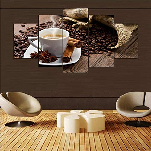 syssyj (Kein Rahmen) Leinwand Wandkunst Bilder Home Decor 5 Stücke Kaffeebohnen Tasse Gewürze Gemälde Für Wohnzimmer Moderne Hd Druckt Poster