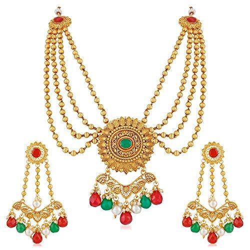 Meenaz Jewellery Traditional Rani Padmavati Long Haar one gram Wedding Bridal Sarees...