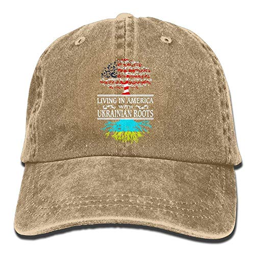 Vidmkeo Adjustable Yarn-Dyed Denim Baseball Cap Living in America Ukrainian Roots Cap Unisex10 -