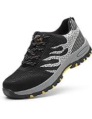 Wasnton Mujer Hombre Zapatillas de Seguridad Deportivos con Puntera de Acero S3 Zapatos de Trabajo Entrenador Unisex Zapatillas de Senderismo ranspirables Antideslizante Ligeras Comodas Unisex