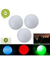 Bcony 3pcs LED Bolas Pelota de Golf,Rojo Verde Azul