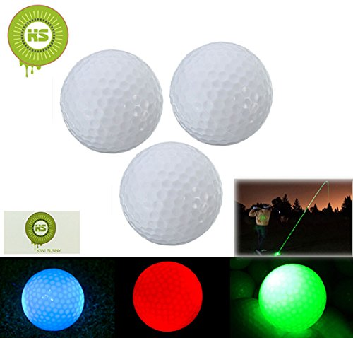 Bcony 3er Pack LED Golfbälle perfekt für Nacht, Rot Grün Blau