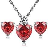 Gespout Élégante parure pour femme avec collier + Boucles d'oreilles en cristal en Forme de cœur Rouge 10*6*3cm