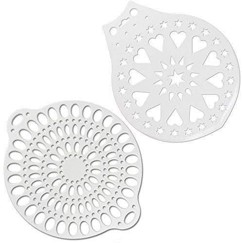 COM-FOUR® Intercalaires à gâteaux et ensembles de serveurs à gâteaux, gabarit d'embellissement, blanc