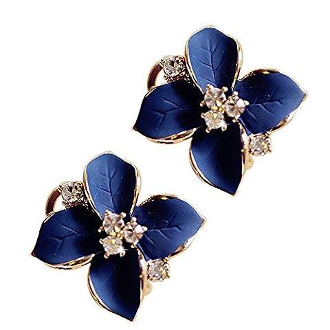 1 Paar koreanische Art und Weise weiblichen Stereo Frosted-Saphir-Kristall-Diamant-Ohrringe Drod Of Oil Camellia Ohrclip