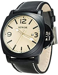 SEWOR reloj para hombre piel negocios automático reloj Full negro Funda Interruptor corona Dial de color caqui