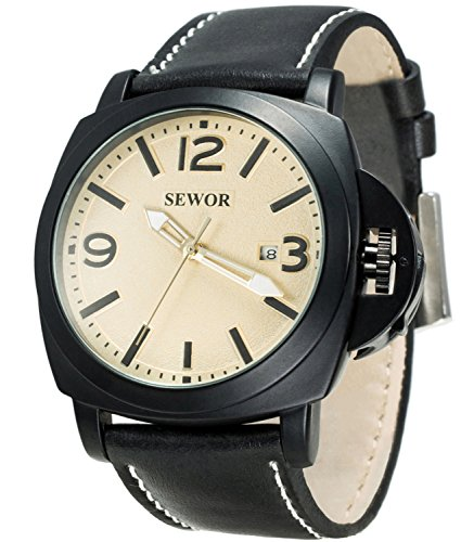 Sewor Mens Business Leather Automatic Mechanical Watch Black Case Calendar Switch Crown Wristwatch Luminous Pointer (Yellow)