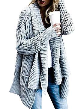 FIRENGOLI Las Mujeres Cárdigans Chaqueta De Punto Jersey De Punto Abrigo Frente Abierto con El Bolsillo