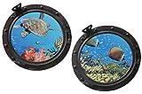 Unbekannt 2 tlg. XL Set: Wandtattoo / Sticker - Bullauge - Fenster im Schiff Korallen Riff Fische - Wandsticker Aufkleber Flugzeug Wandaufkleber Badezimmer Fische Korallenriff