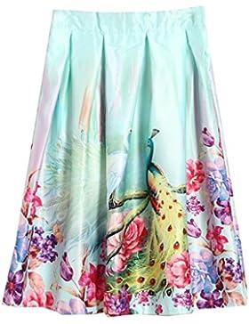 Sunnyshopday 47 1950s Falda Plisada Estampado Floral Falda de Playa Cintura Alta Vestidos Mujeres