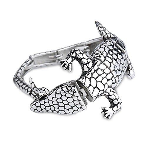 Generic Herren Edelstahl Lizard Armband Vintage Retro-Armband mit Charme Schließe -