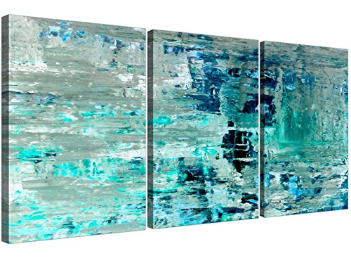 Turchese teal abstract painting wall art print canvas – split set di 3 – 3333 wallfillers