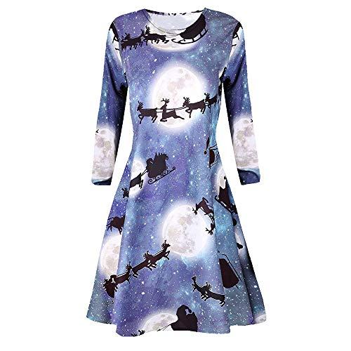 IYHENZ Frauen Casual Retro Langarm Vintage Weihnachten gedruckt Cocktailkleid Damen 3/4 Arm Kleid...