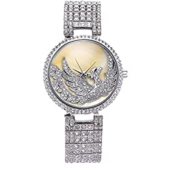 Sheli Casual All Silver Tone Oyster Dial Phoenix Motif Diamonds Bangle Watch for Woman, 38mm