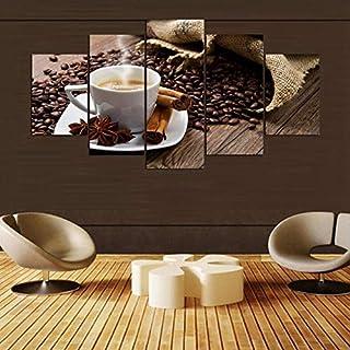 Gjyddvs Modular Canvas Impreso Pintura 5 Unidades Café Artístico Cartel de la Sala de estar Decoración Café Granos Imágenes Cocina Arte de la Pared Enmarcado-Vendido por