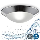 Lámpara de techo o pared IP44 max. 40W Ø310mm, Casquillo E27, Plafón para baño con borde cromado 230V,...