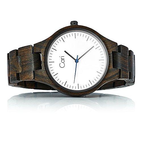 Cari Damen und Herren Holz Armbanduhr Berlin - Sandelholz mit Saphirglas und Schweizer Uhrwerk