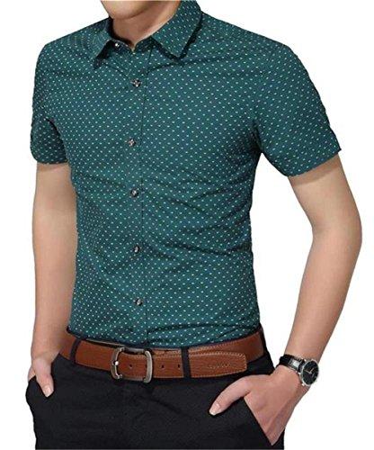 AIYINO Herren Kurzarm Hemd Kariert Gepunktetes Freizeithemd Baumwolle Businesshemd Mehrere Farben zur Auswahl Grün