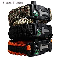 BIBIone Multifunction hand wristband Paracord + Compass + Fire Starter + Loud Whistle + Emergency 5 in one Hiking Camping Fishing Hunting Gear BEST Wilderness Prepare to Survival-Kit 3pack