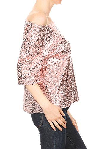 Anna-Kaci Damen ein Schulter Kurzarm Blingeling Glitzer Pailletten Lose Bluse Batwing T-Shirts Vintage Tops Oberteile Pink