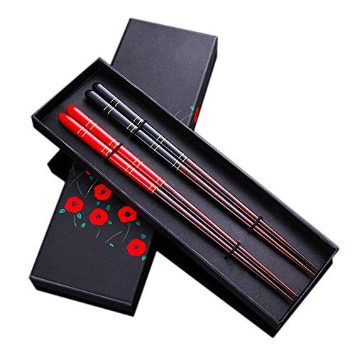 Youda bacchette giapponese legno naturale, sushi regalo bacchette prima qualità, stile classico riutilizzabile, 2 paia con scatola