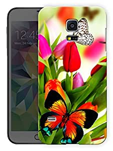 """Humor Gang Butterflies And Flowers Printed Designer Mobile Back Cover For """"Samsing Galaxy S5"""" By Humor Gang (3D, Matte Finish, Premium Quality, Protective Snap On Slim Hard Phone Case, Multi Color)"""