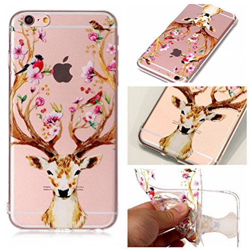 Apple iPhone 6 Plus Hülle, Voguecase Silikon Schutzhülle / Case / Cover / Hülle / TPU Gel Skin für Apple iPhone 6 Plus/6S Plus 5.5(Pflaumen/Hirsch 04) + Gratis Universal Eingabestift Pflaumen/Hirsch 04