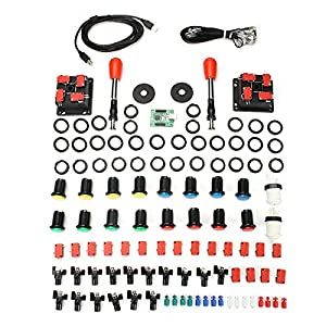 GOZAR Arcade Parts Bundle Kit Mit Spanien Red Joystick Push-Taste Micro Switch 2 Player USB-Karte
