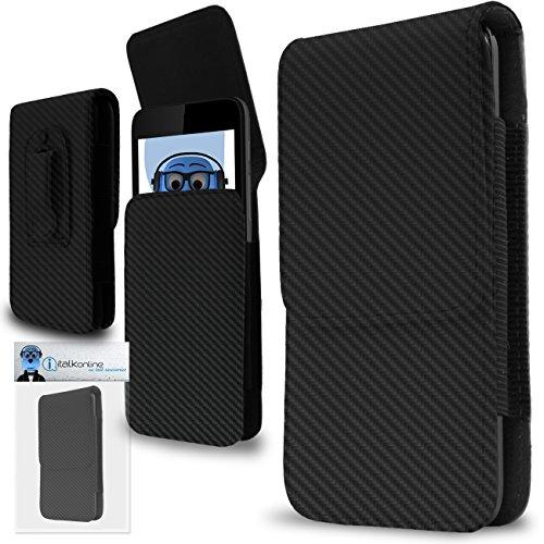 iTALKonline Kohlefaser Schwarz Premium PU-Leder Vertikale Exekutive Seitentasche Kofferabdeckung Holster mit Gürtelschlaufe Clip und Magnetverschluss für Nokia 801T