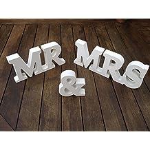 Musuntas Decoraciones Letras de Madera MR & MRS para Decoración / Regalo de Boda 21cmX 10cm X 1.5cm