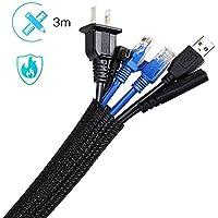 Manchon de Câble Gaine 3M Souple Ajustable AGPTEK, Gestion des Câbles Rangement Tressée Fendue en PET, Protection du cache-câbles pour Câbles Télé/Ordinateur/USB/Audio/Vidéo- 3m/6.56ft