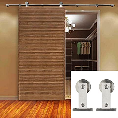 Hahaemall Classic Sliding Barn Door Hardware Track Kit Stainless Steel Rail Roller Set Fit Single Wood Door 8FT/ (Architectural Metal Panel)