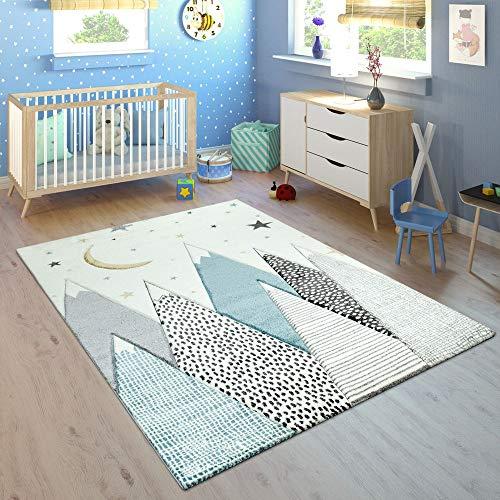 Paco Home Kinderteppich Kinderzimmer Berg Motiv Mond Sterne In Pastell Blau Grau, Grösse:120x170 cm