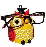 Brillenhalter - ' verschiedene Eulen ' - stabil aus Kunstharz - universal Größe - für Kinder & Erwachsene / Brillenhalterung - lustiger Brillenständer - für Sonnenbrille Lesebrille - Brillenablage / Eule Vögel lustige Schule Prüfung