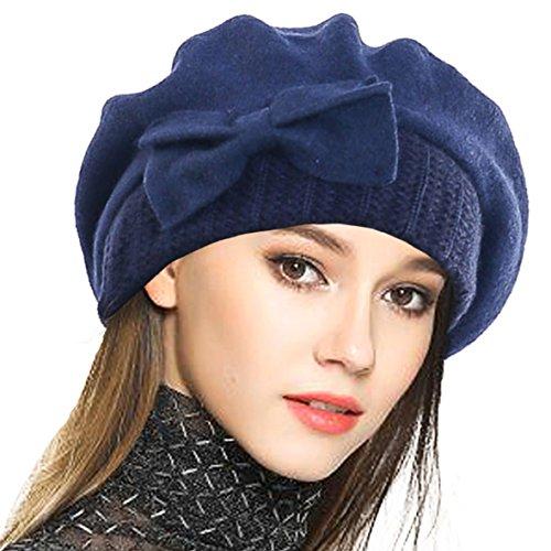 Frauen Barette 100% Wolle Baskenmütze Kleid Mütze Wintermütze (Marine)