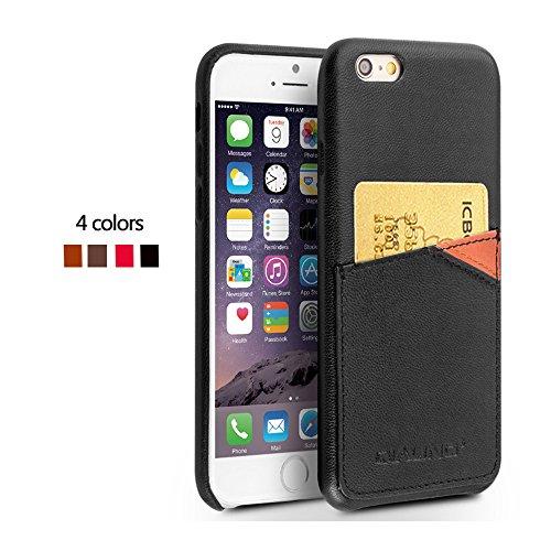 iPhone 6/6Plus Schutzhülle, ultra dünn Echt Leder Back Cover Bumper für 4,7/14cm Apple Phone, qialino Handarbeit Weiche strapazierfähige Displayschutzfolie mit Kartenschlitz Rückseite, Leder, coffee schwarz