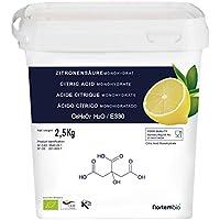 Acido Citrico 2,5 Kg, La Migliore Qualità Alimentare, Naturale al 100%, in polvere E330, Decalcificazione Ecologica, NortemBio, CE prodotto