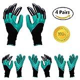 Yardsky Garten Handschuhe mit Krallen Wasserdicht Garten Genie Gartenhandschuhe Plazen Graben Gartenarbeit Gloves [4 Paar] (8, Rechte und Linke Hand mit Klauen)