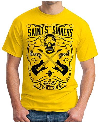 OM3 - SAINTS-and-SINNERS-II - T-Shirt GEEK, S - 5XL Gelb