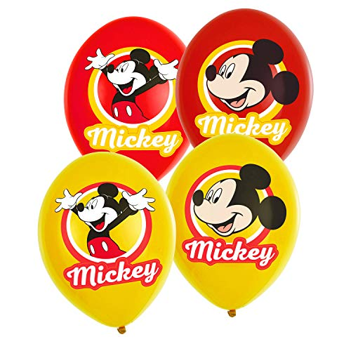 amscan 9903666 Mickey 6 Latexballons Micky Maus, Rot und Gelb