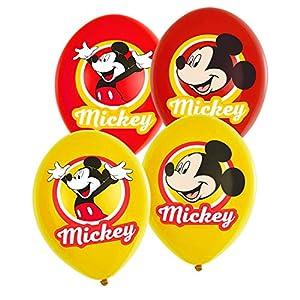 amscan 9903666 Mickey - Globos de látex (6 Unidades), diseño de Mickey Mouse, Color Rojo y Amarillo