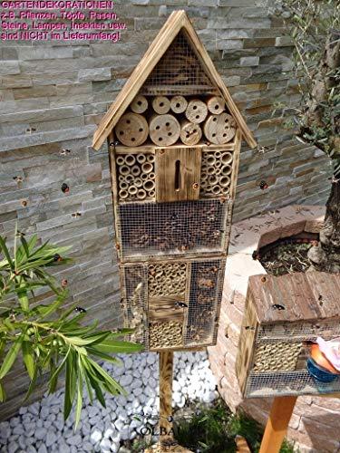 1x XXL insektenhotel, Bienenhaus Spitzdach HOCH, mit Standfuß UND TRÄNKE insektenhotel Holz Nistkasten GEFLAMMT-schwarz-, Natur-HOLZFARBEN