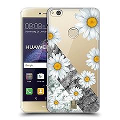 Idea Regalo - Head Case Designs Margherite Marmo E Fiori Cover Retro Rigida per Huawei P8 Lite (2017)