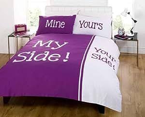 Rapport Parure de lit My Side Your Side Lit king size Prune et Blanc